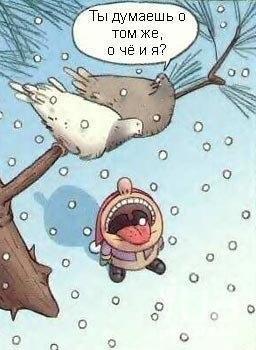 карикатуры-голуби-снег-какашки-90543